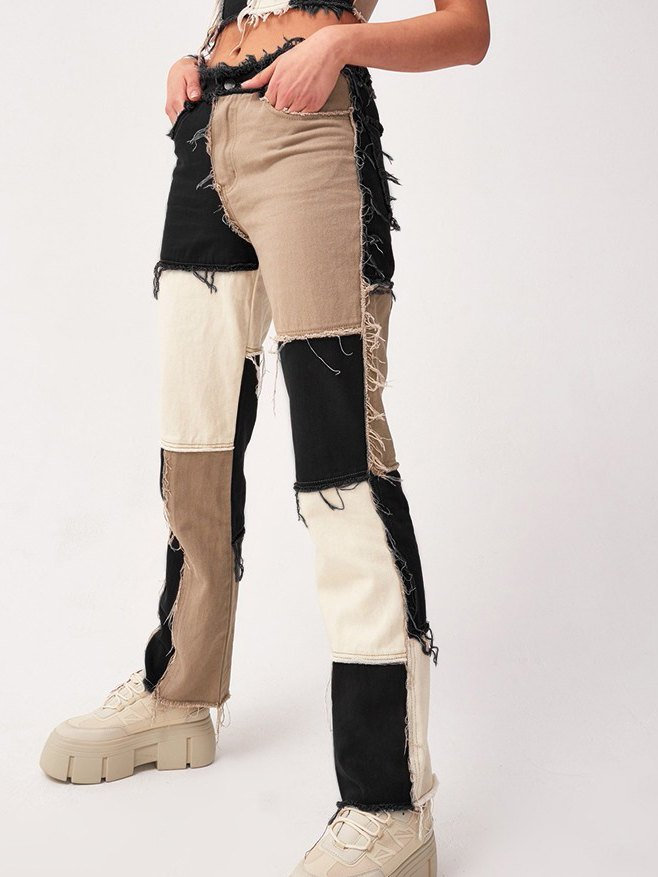 Pastel Patchwork Denim Boyfriend Jeans - Black XS