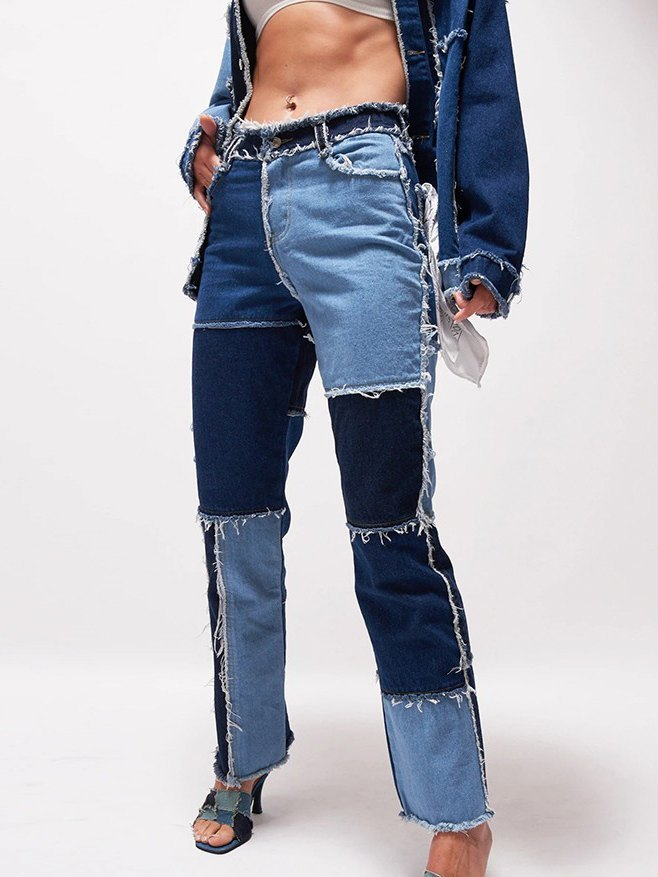 Patchwork Denim Boyfriend Jeans - Blue S