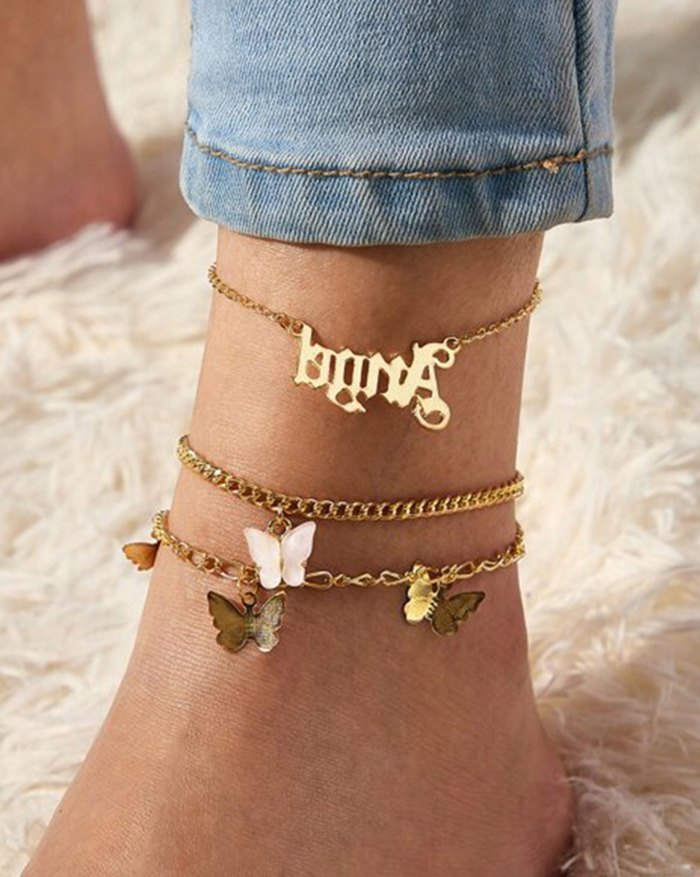 Multi-pack Letter Butterfly Charm Anklet - Pink ONE SIZE