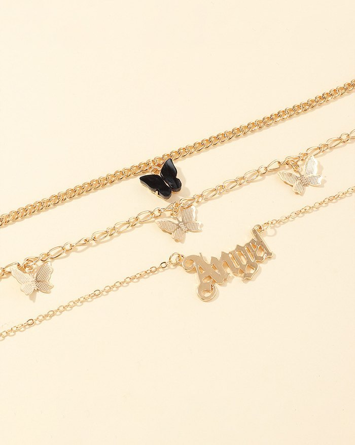 Multi-pack Letter Butterfly Charm Anklet - Black ONE SIZE