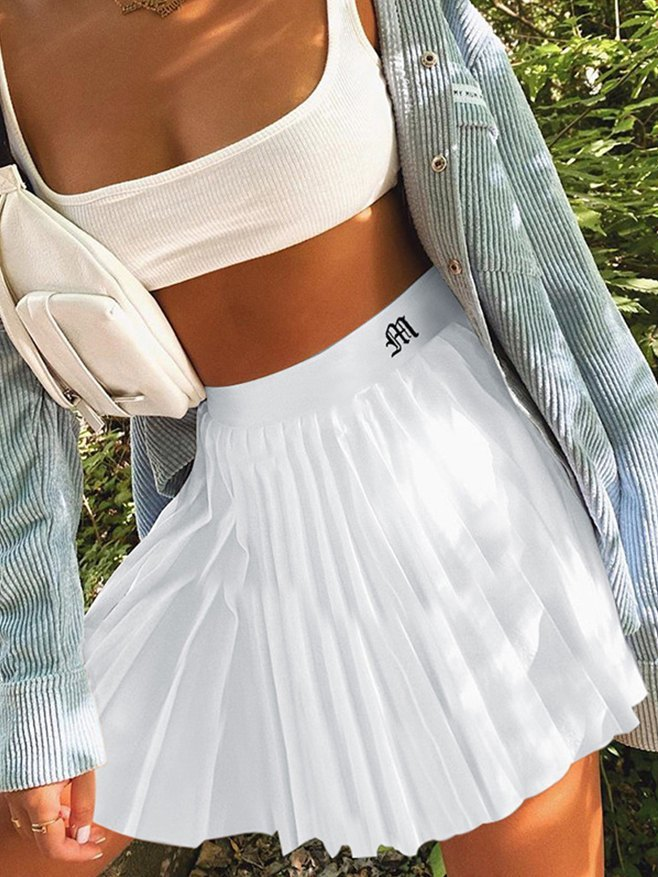 Letter Embroidered Pleated Skirt - White S