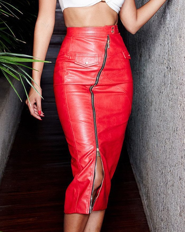Faux Fur Zipper Split Slim Midi Skirt -