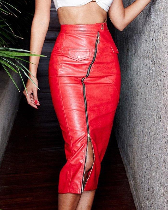 Faux Fur Zipper Split Slim Midi Skirt - Red M