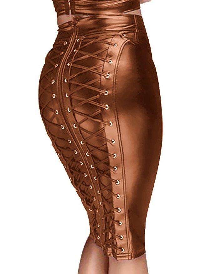 Gothic Faux Leather Back Zipper Lace-up Wrap Midi Skirt - Brown XL