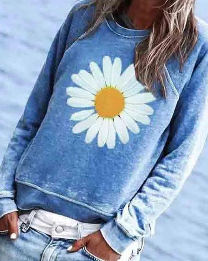 Daisy Print Casual Sweatshirt - Blue S