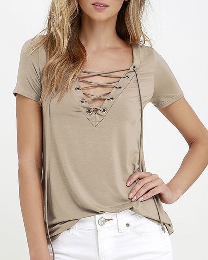 V-Neck Strap Short Sleeve T-Shirt - Khaki S