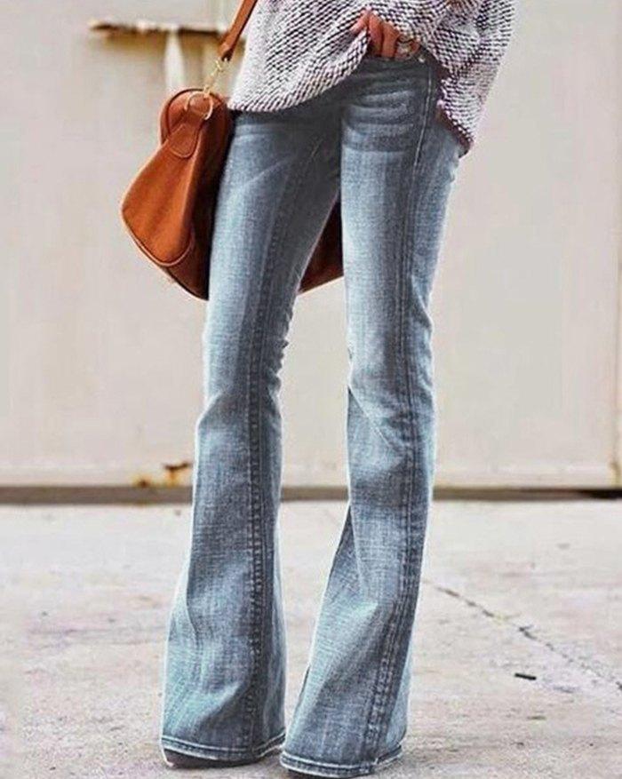 Mid Waist Skinny Flared Jeans - Blue S