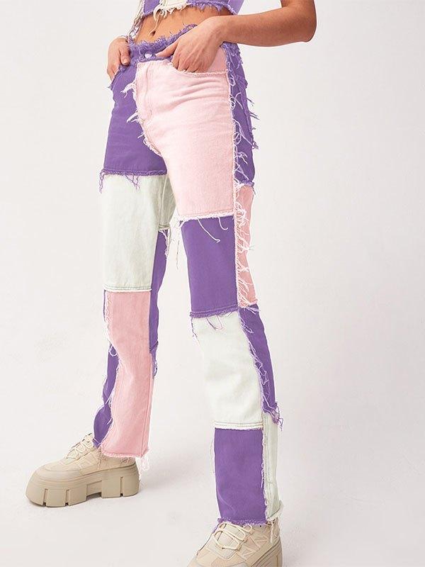 Jeans boyfriend in denim patchwork pastello - Viola XS