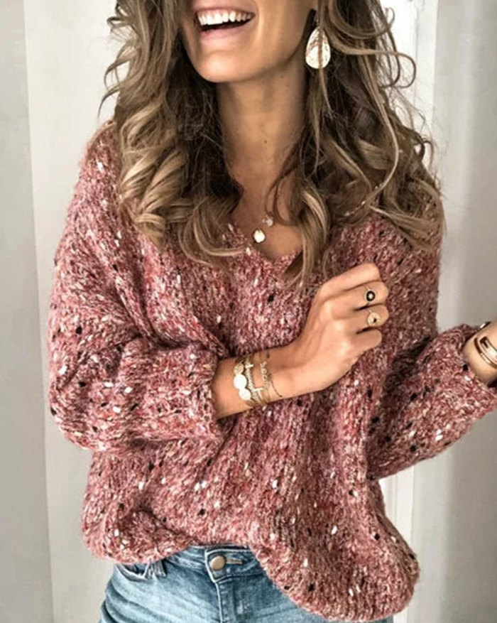 V-neck Speckled Pullover Sweater - Red XL