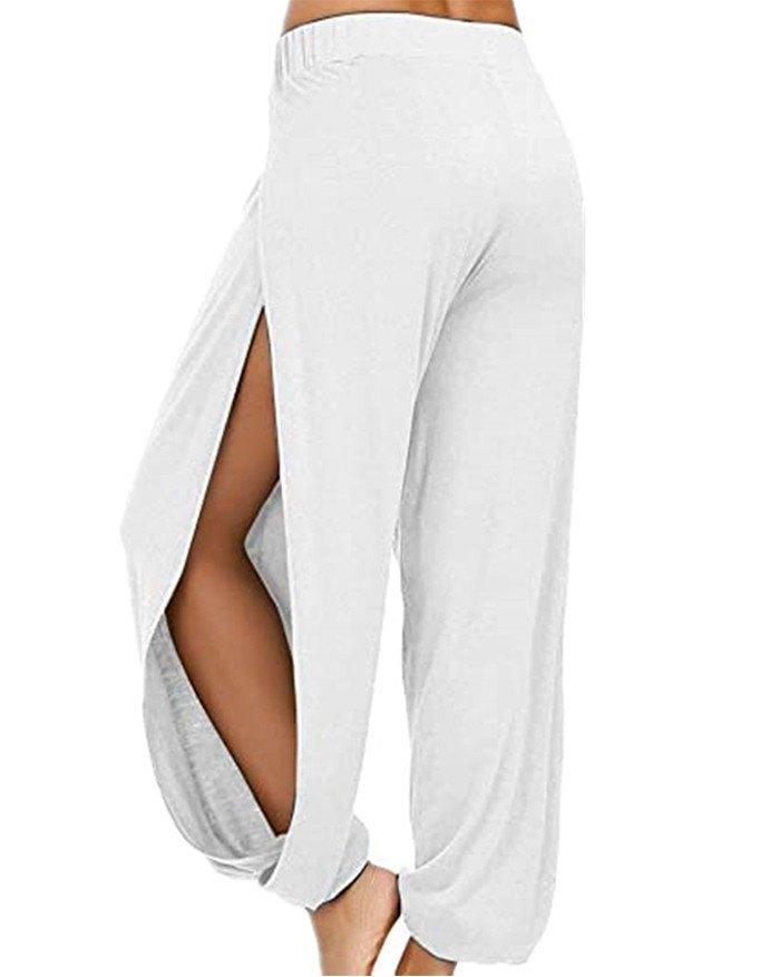 Mid-high Waist Side Slit Casual Harem Pant - White S