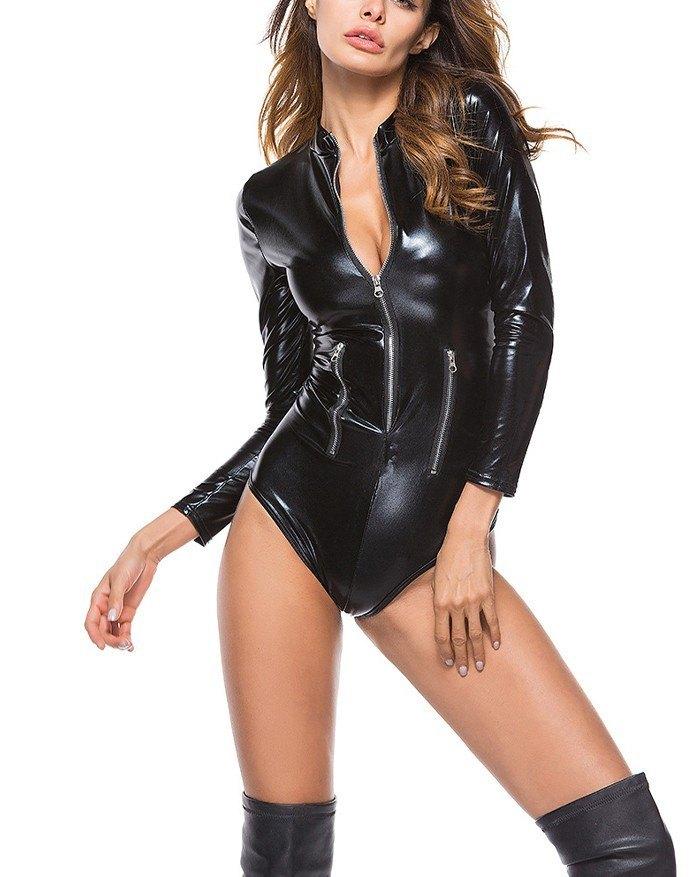 Long Sleeve Zip Leather Bodysuit - Black M