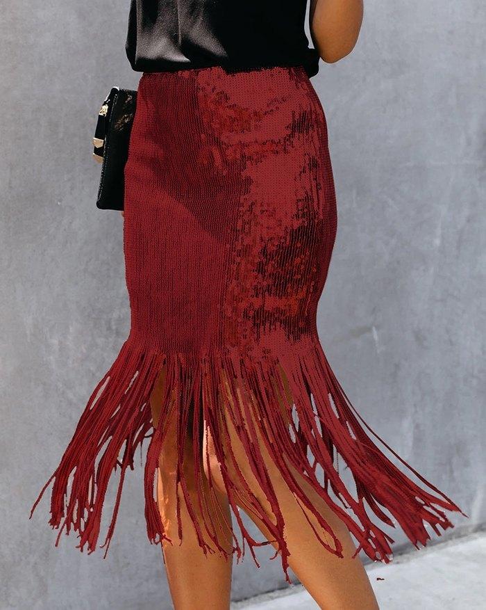 Glitter Tassel Design Sequins Skirt - Red L