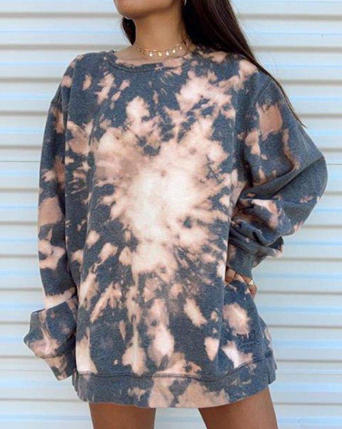 Tie-dye Loose Sweatshirt - Gray L