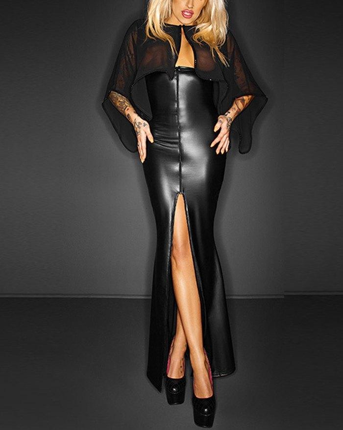 Patent Leather Mesh Panel Sheer Slit Maxi Dress - Black L