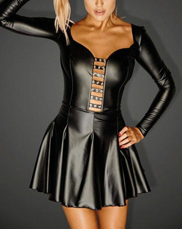 Long Sleeve Pleated Patent Leather Backless Mini Dress - Black 3XL