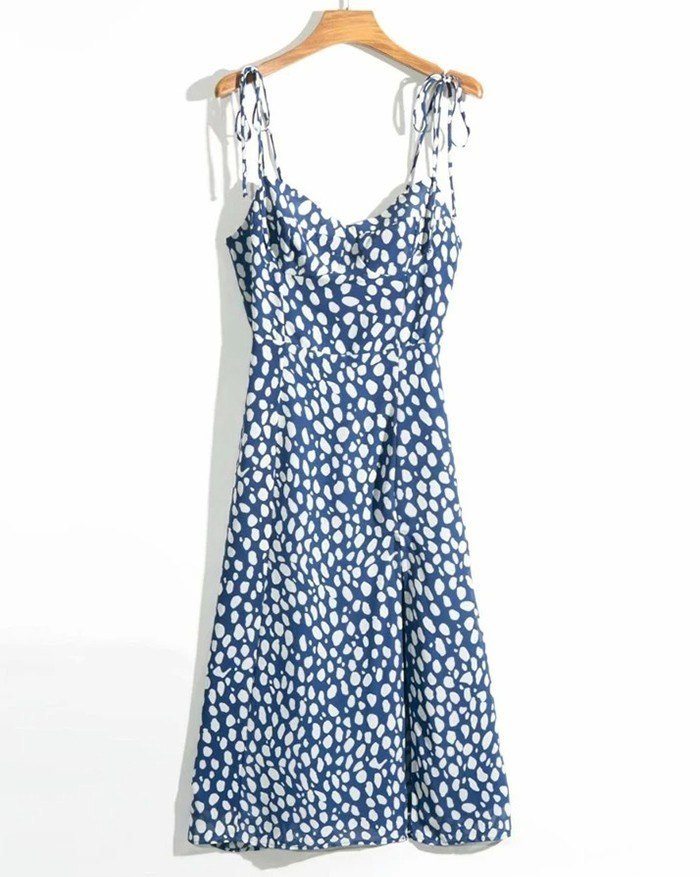 Elegant Spaghetti Straps Print Vintage Elastic Side Split Dress - Blue L