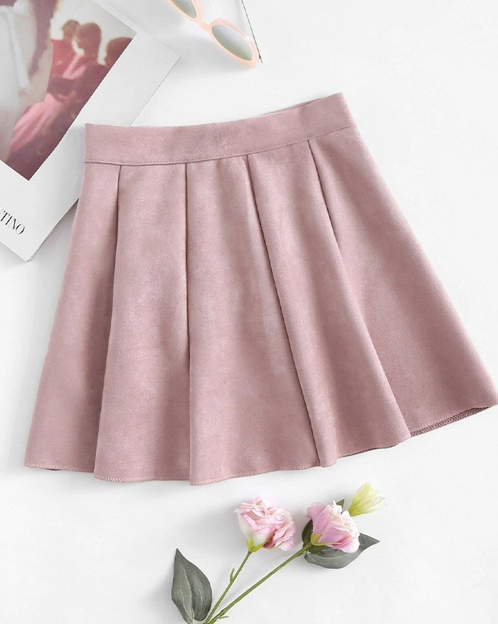 Mid Waist Pleated Faux Suede Skirt - Pink S