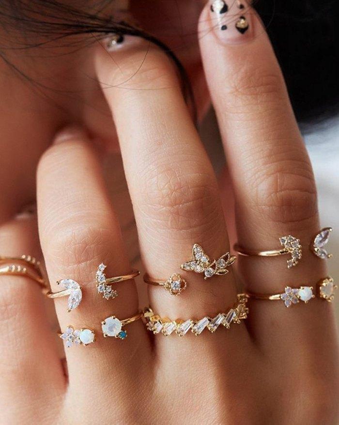 Bague 7 pièces en cristal de fleur de papillon de diamant vintage bohème - d\'or ONE SIZE