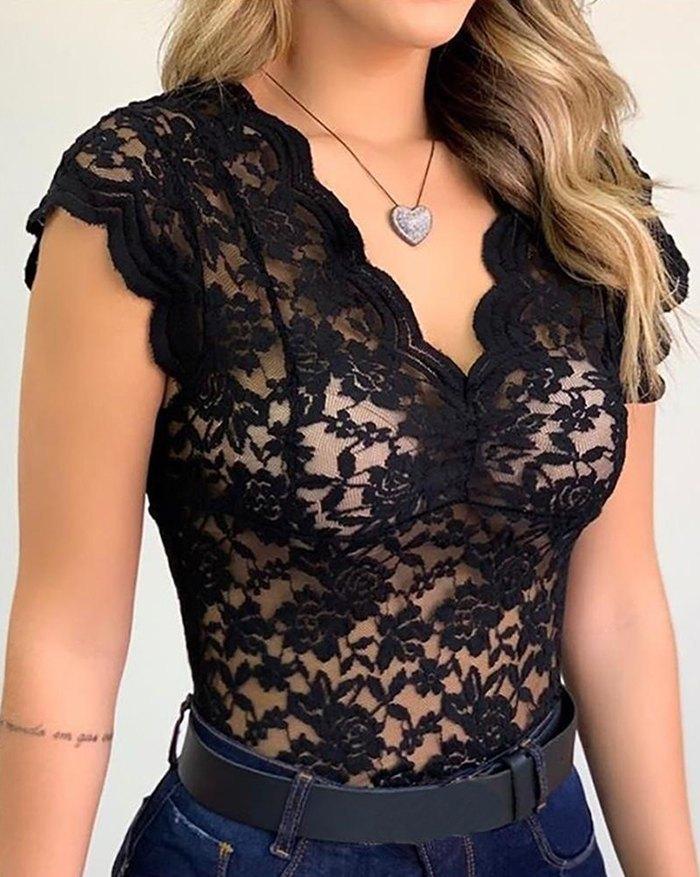 Dot Mesh Lace Deep-V Neck Bodysuit - Black XL