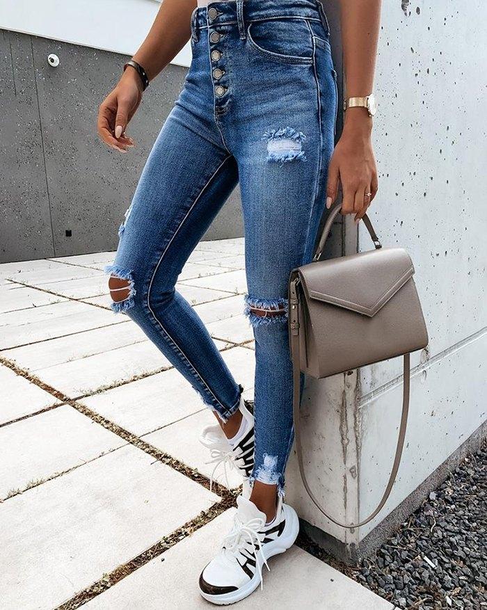 Cutout Ripped Button Design Casual Jeans - Blue 2XL