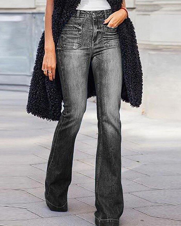 Mid-waist Boot Cut Jean - Black XL