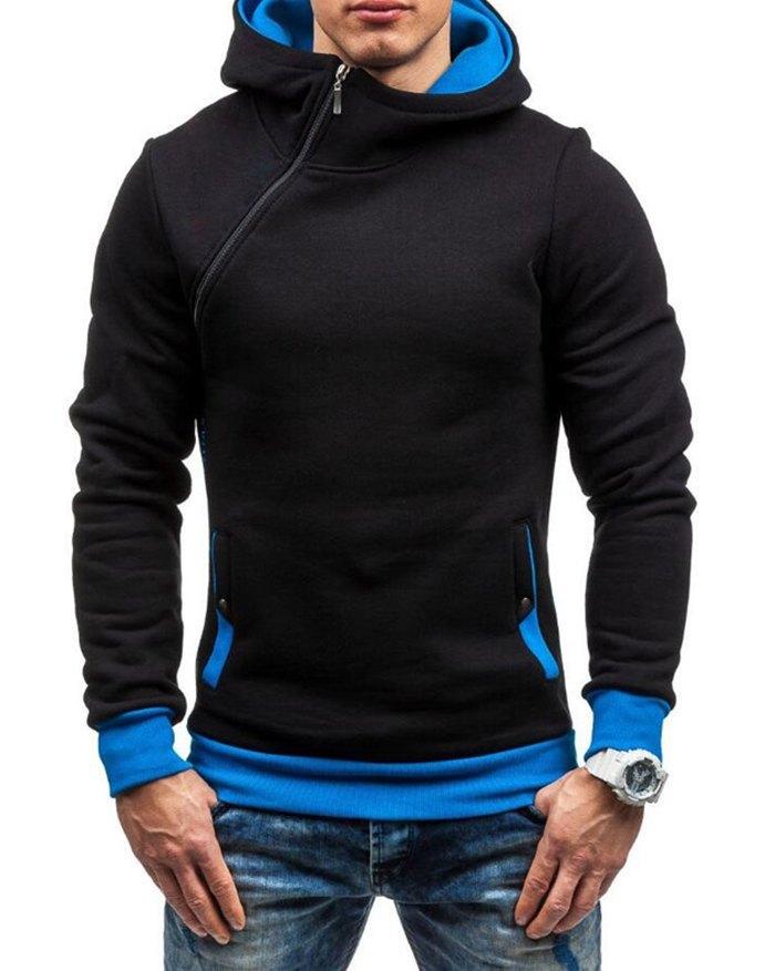 Men's Diagonal Zipper Color Block Hoodie - Black 2XL