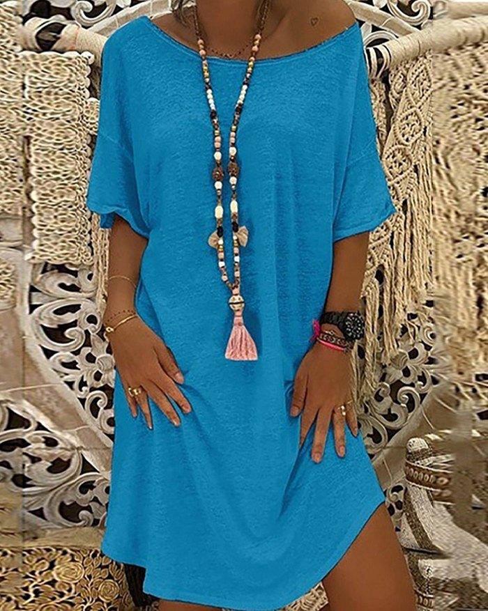 Solid Off Shoulder A-Line Mini Dress - Blue L