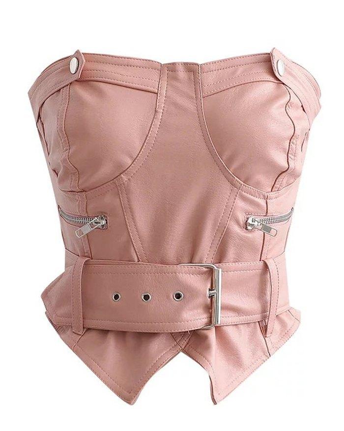 PU Leather Side Zipper Belt Bustier - Pink L
