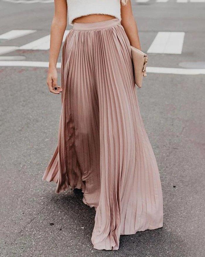 Pleated Billowing Maxi Skirt - Pink L