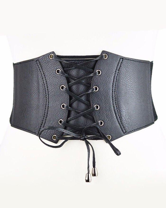 Cintura elastica con lacci con occhielli - Nero ONE SIZE