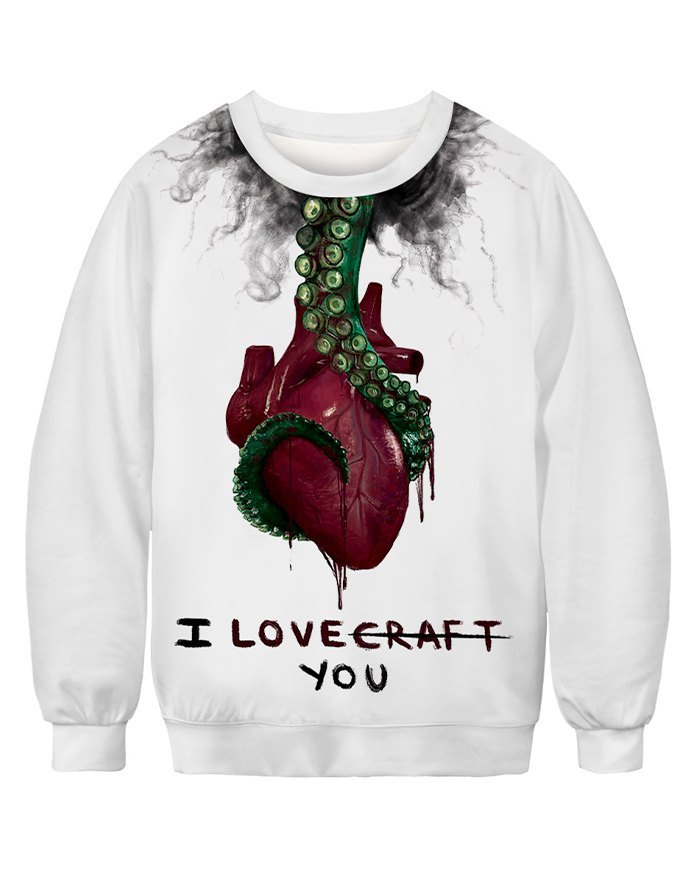 Halloween 3D Heart Print Sweatshirt - White S