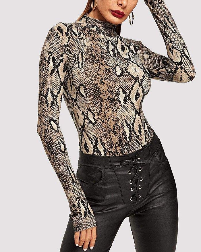 Snake Print Slim Fit Bodysuit - Snake Print S