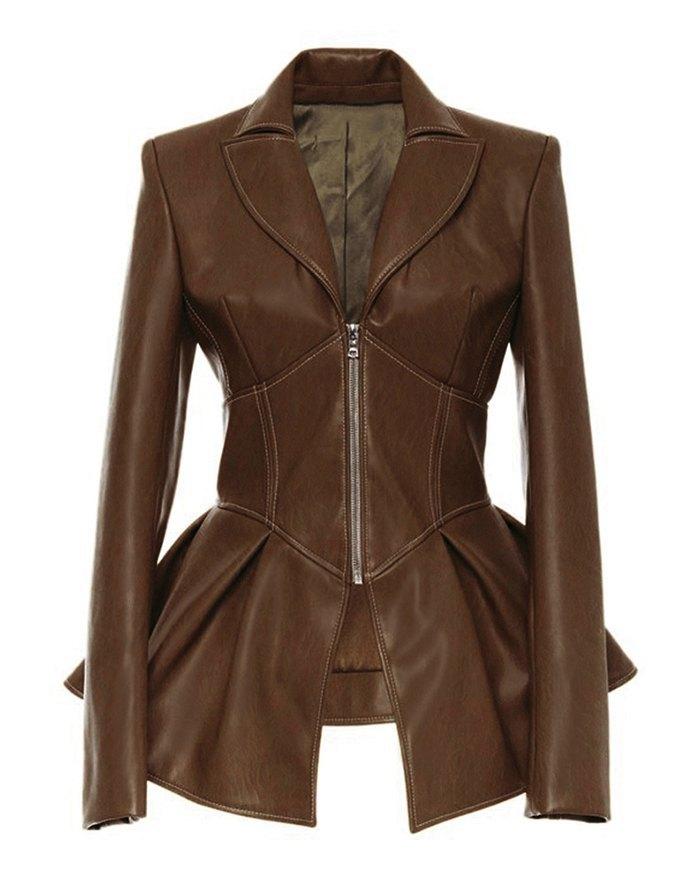 PU Leather Ruffle Jacket - Coffee 2XL