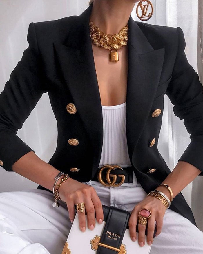 Double Breasted Casual Blazer - Black M