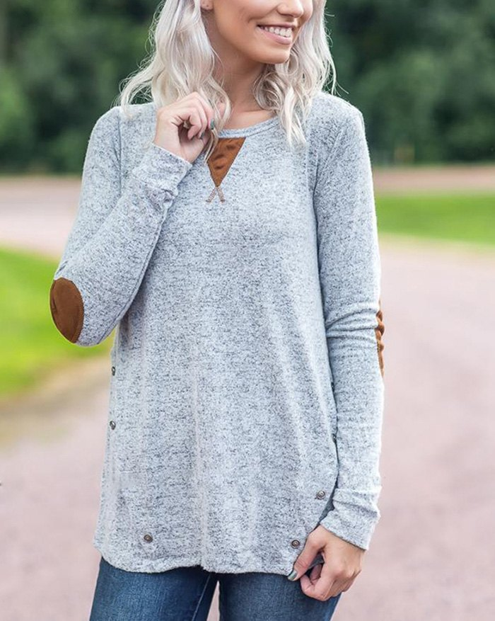 Patchwork Suede Long Sleeve Sweatshirt - Gray XL