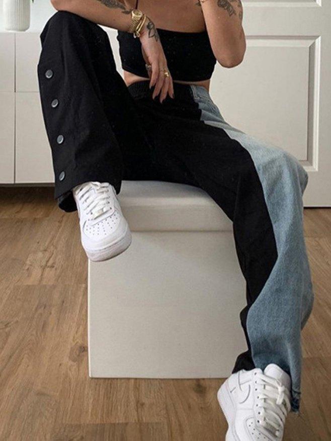 High Waist Color Block Jeans -