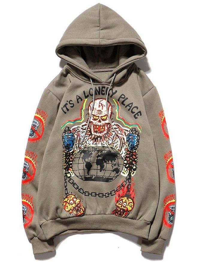 Men's Skull Graffiti Print Hoodie -