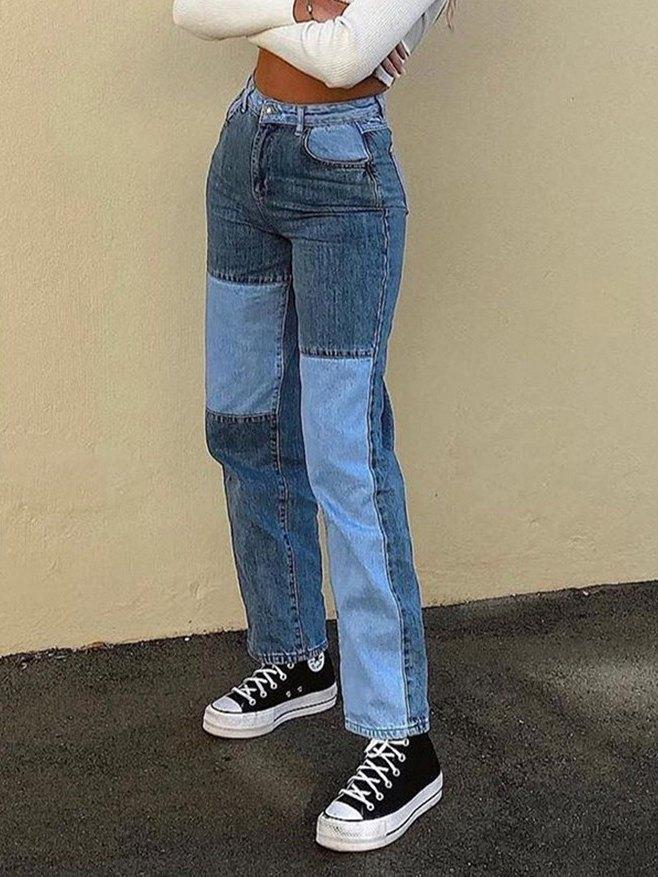 Contrast Patchwork Straight-leg Jeans - Blue S
