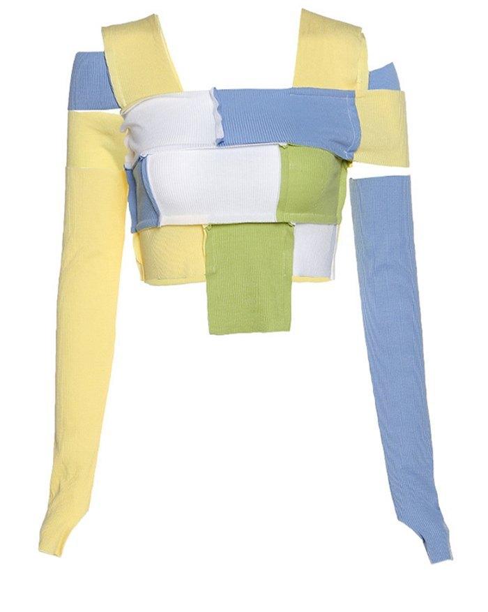 Patchwork Hollow Out Knit Top - multicolorple Colors L