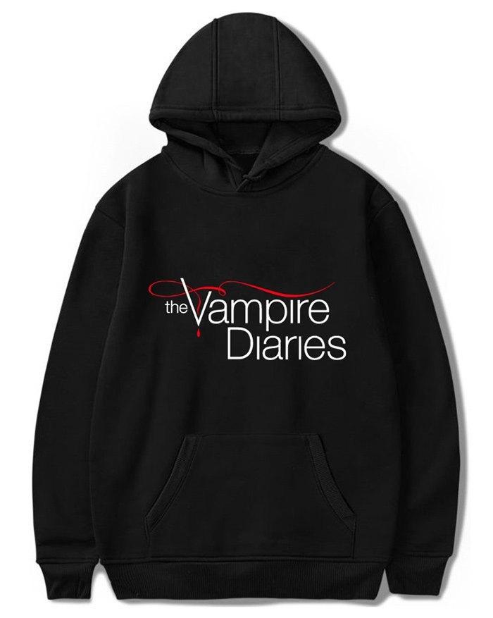 Felpa con cappuccio in velluto da uomo Vampire Diary Plus - Nero S