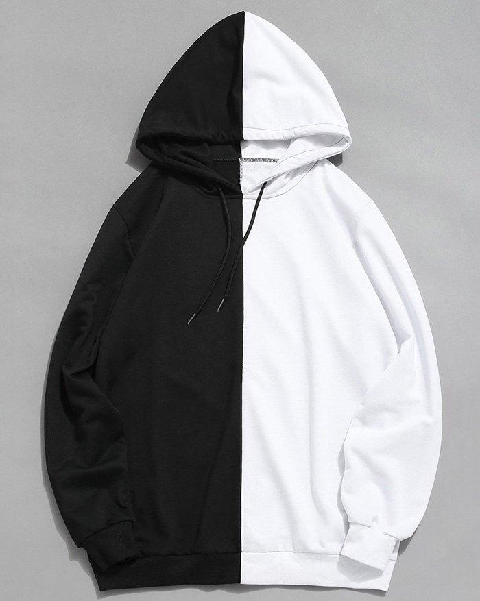 Sweat à capuche color block pour hommes - Noir S