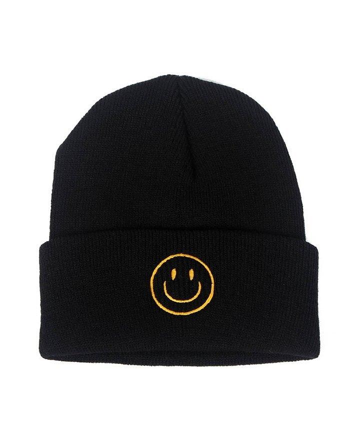 Cappello lavorato a maglia ricamato smiley - Nero ONE SIZE
