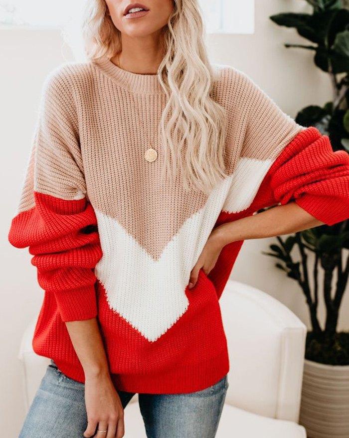 Colorblock Jumper Knit Sweater -