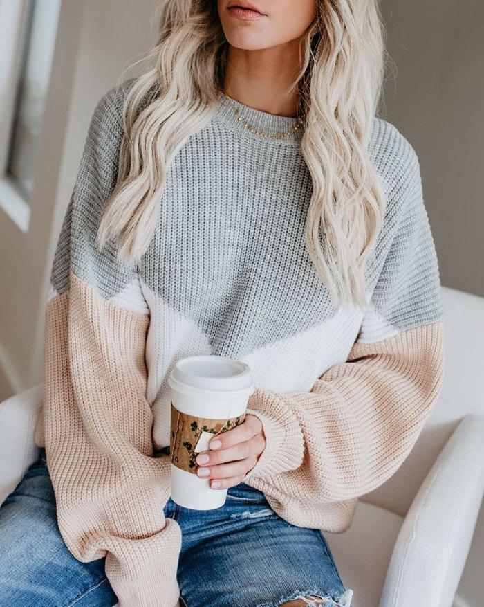 Colorblock Loose Sweater - Gray S