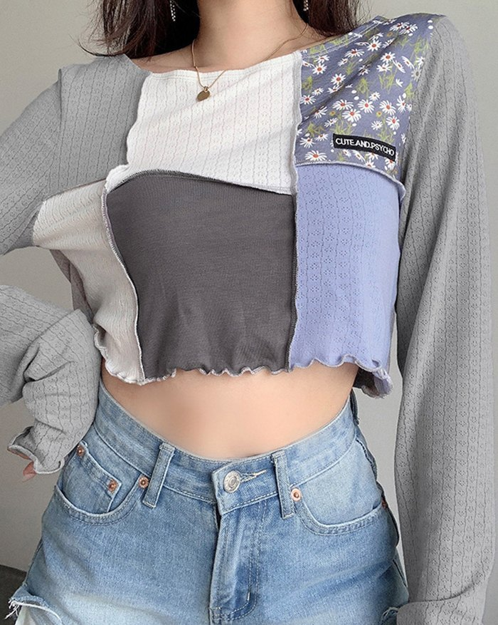 Contrast Patchwork Cropped Top -
