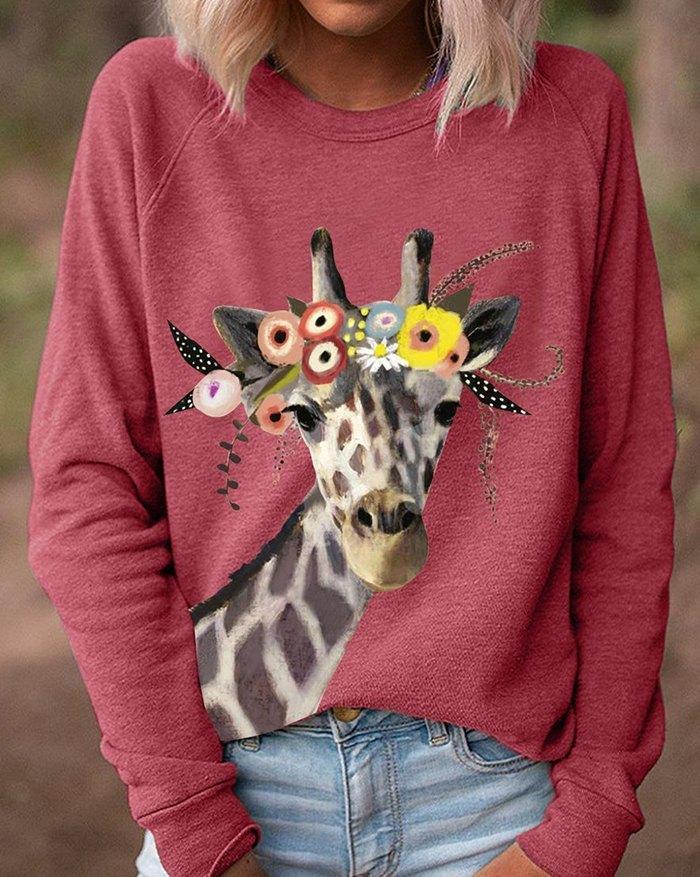 Giraffe Print Sweatshirt - Red M
