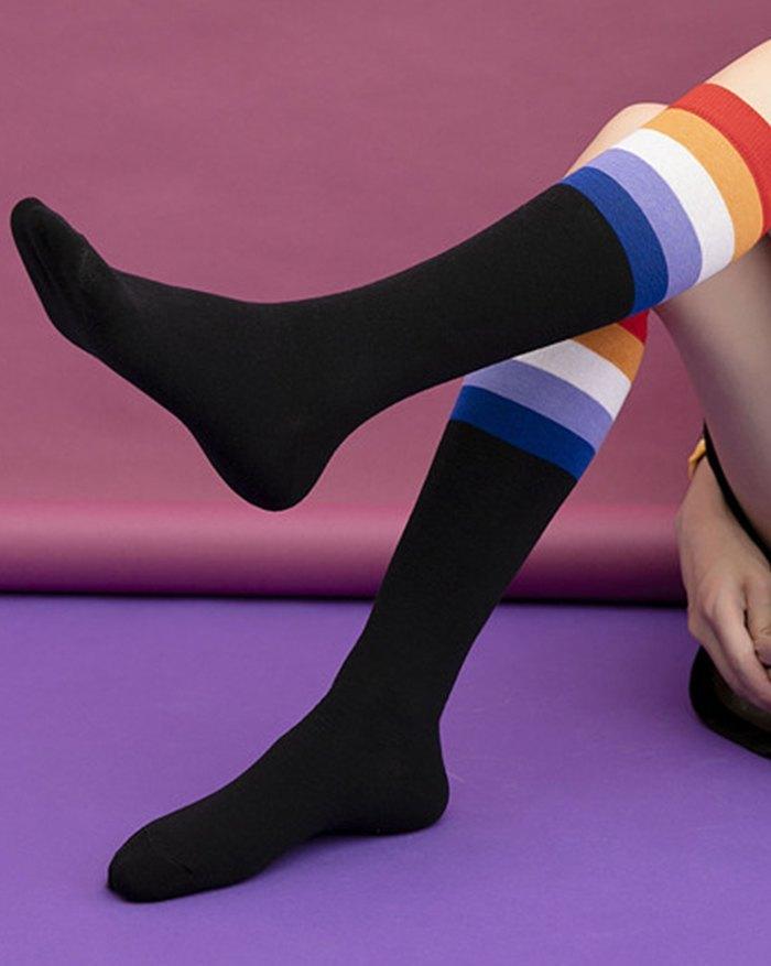 Chaussettes mi-mollet rayées arc-en-ciel -  ONE SIZE