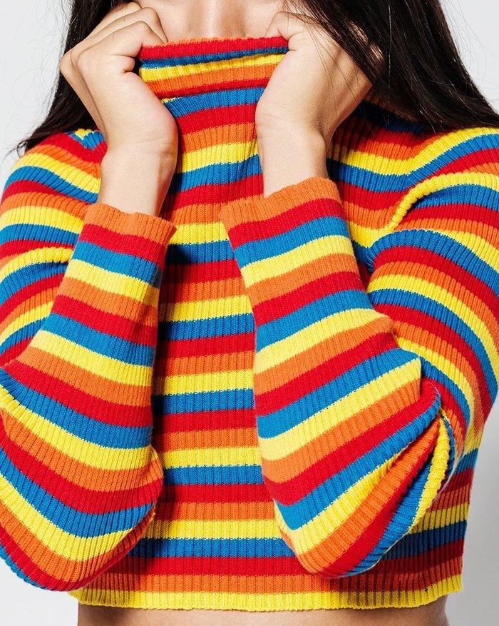 Rainbow Striped Pullover Cropped Knit - multicolorple Colors L