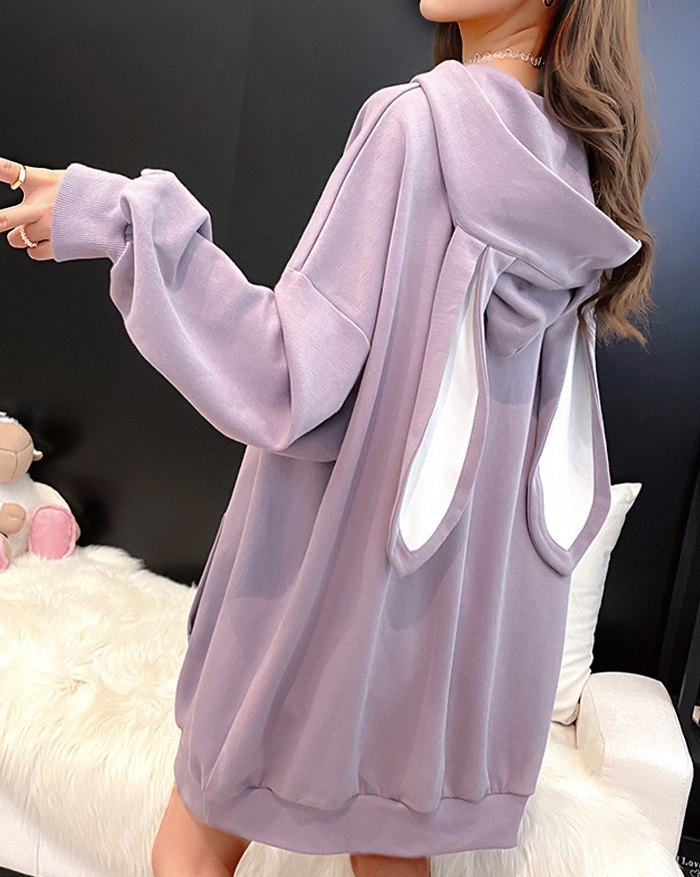 Cute Rabbit Ear Detail Hoodie - Purple M