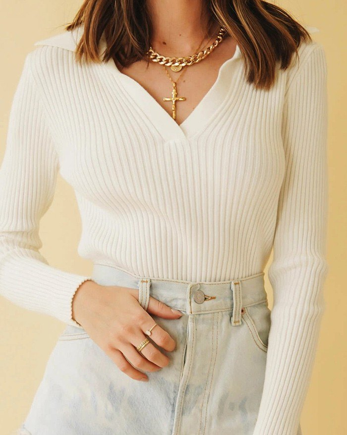Ribbed Cropped Pullover Knit Top - White S